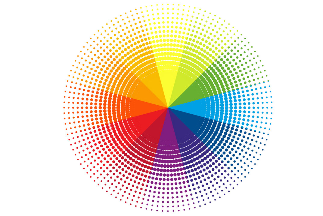 Colour wheel made up of coloured dots