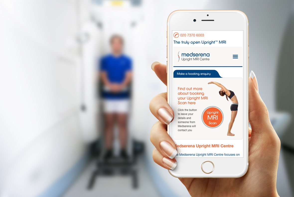 Website Design shown on white smartphone for Medserena Upright MRI Centre
