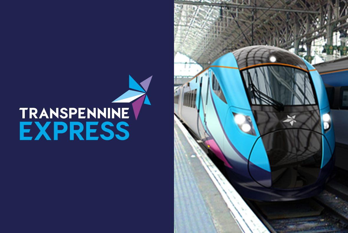 Transpennine Express logo next to blue and black train